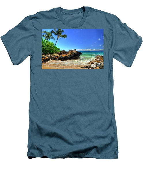 Makena Secret Cove Paako Beach Men's T-Shirt (Slim Fit) by Kelly Wade