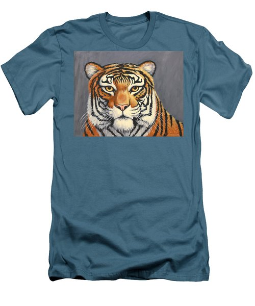 Men's T-Shirt (Slim Fit) featuring the painting Malayan Tiger Portrait by Penny Birch-Williams