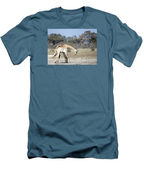 Men's T-Shirt (Slim Fit) featuring the photograph Male Giraffes Necking by Liz Leyden