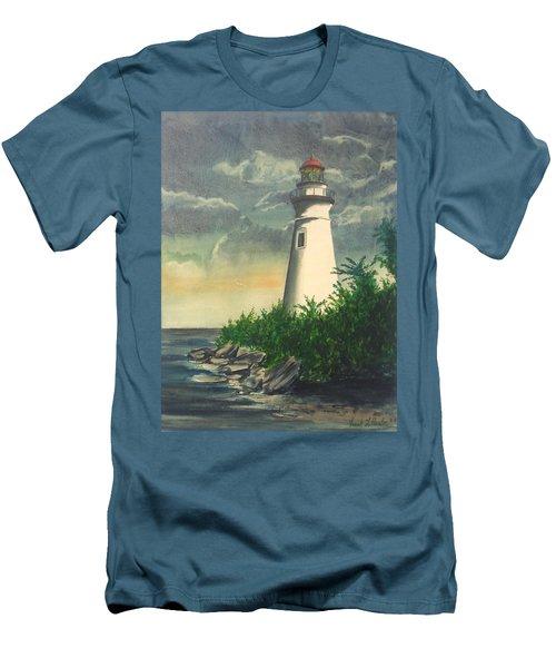 Marblehead Light On Lake Erie Men's T-Shirt (Slim Fit) by Frank Hunter