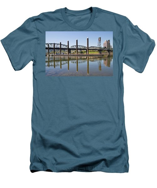 Men's T-Shirt (Slim Fit) featuring the photograph Marina By Willamette River In Portland Oregon by JPLDesigns