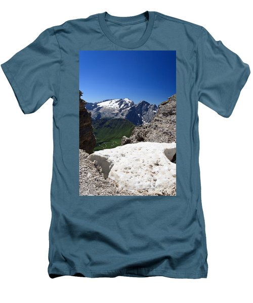 Men's T-Shirt (Slim Fit) featuring the photograph Marmolada From Saas Pordoi by Antonio Scarpi
