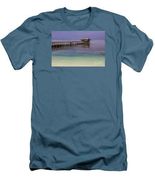 Maya Key Pier At Roatan Men's T-Shirt (Slim Fit) by Suzanne Luft