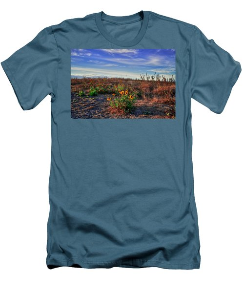 Men's T-Shirt (Slim Fit) featuring the photograph Meadow Of Wild Flowers by Eti Reid
