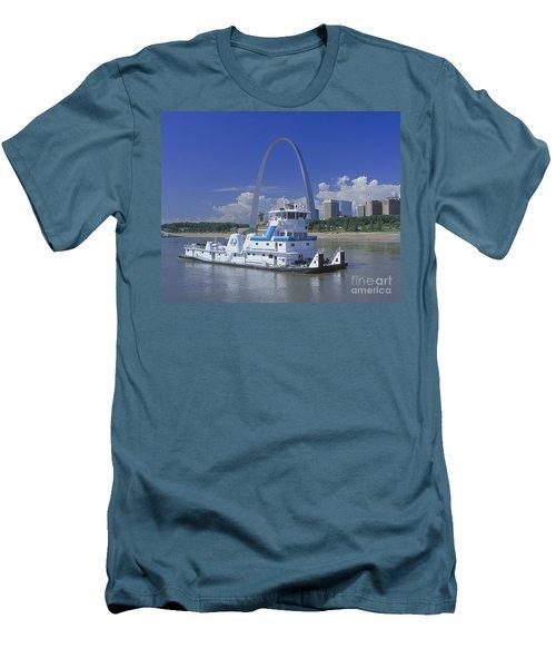 Memco Towboat In St Louis Men's T-Shirt (Slim Fit) by Garry McMichael