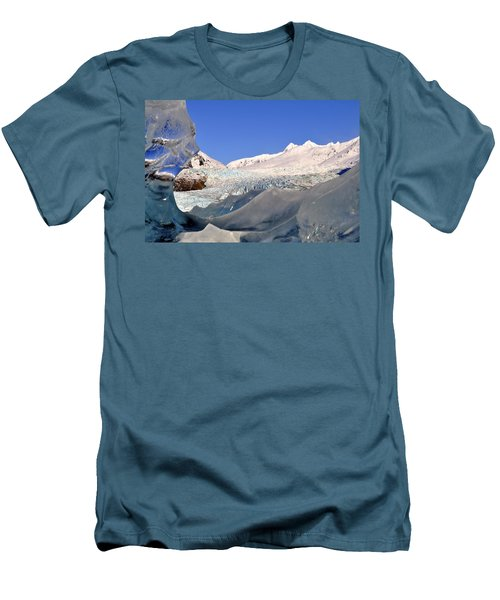 Men's T-Shirt (Slim Fit) featuring the photograph Mendenhall Glacier Refraction by Cathy Mahnke