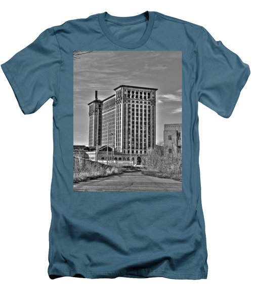 Michigan Central Station Men's T-Shirt (Slim Fit) by Nicholas  Grunas