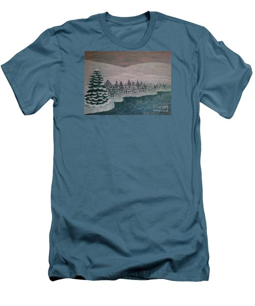 Men's T-Shirt (Slim Fit) featuring the painting Michigan Winter by Jasna Gopic