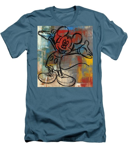 Mickey Mouse Sketchy Hello Men's T-Shirt (Slim Fit) by Paulette B Wright