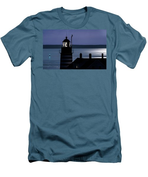 Men's T-Shirt (Slim Fit) featuring the photograph Midnight Moonlight On West Quoddy Head Lighthouse by Marty Saccone