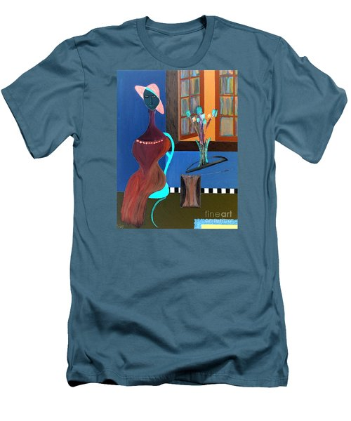 Men's T-Shirt (Slim Fit) featuring the painting Midnight On The Terrace by Bill OConnor