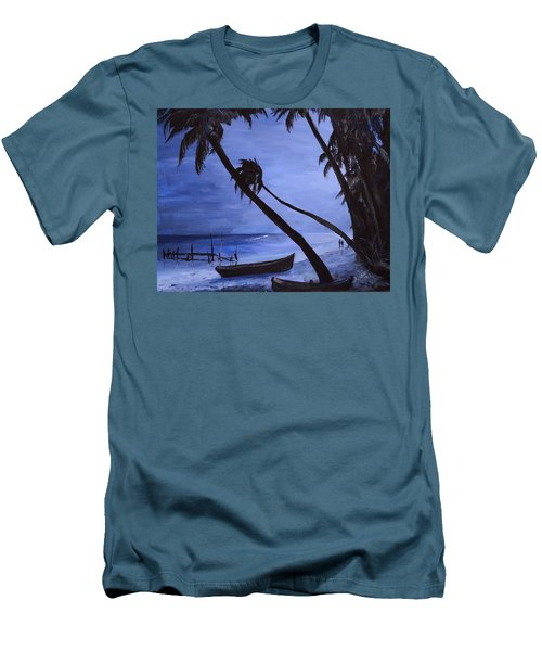 Men's T-Shirt (Slim Fit) featuring the painting Midnight Stroll In Paradise by Alan Lakin