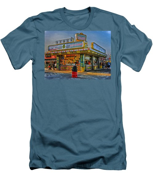 Men's T-Shirt (Slim Fit) featuring the photograph Midway Steak House by Debra Fedchin