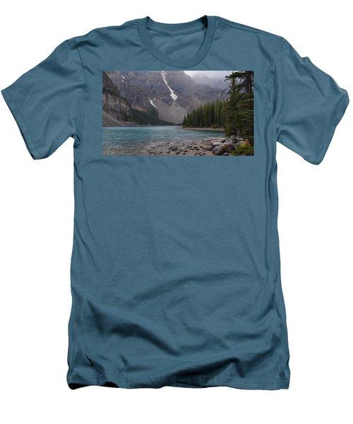Mist Over Lake Moraine Men's T-Shirt (Slim Fit) by Cheryl Miller