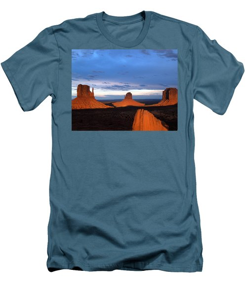 Monument Valley @ Sunset 2 Men's T-Shirt (Slim Fit) by Jeff Brunton