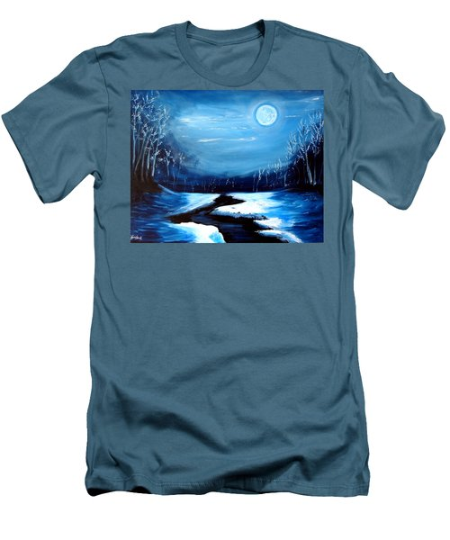 Moon Snow Trees River Winter Men's T-Shirt (Athletic Fit)