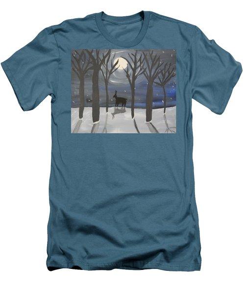 Moonlight On Snow Men's T-Shirt (Athletic Fit)