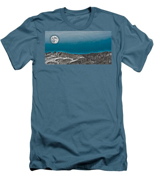 Men's T-Shirt (Slim Fit) featuring the photograph Moonrise Over The Mountain by Don Schwartz
