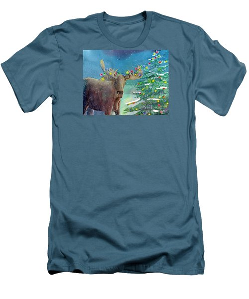 Moosey Christmas Men's T-Shirt (Slim Fit) by LeAnne Sowa