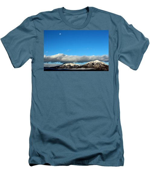 Men's T-Shirt (Slim Fit) featuring the photograph Morning Moon Over Spanish Peaks by Barbara Chichester