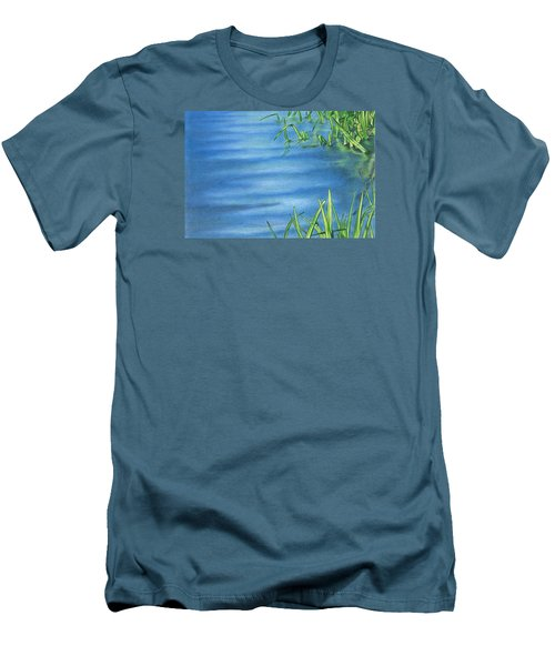 Men's T-Shirt (Slim Fit) featuring the drawing Morning On The Pond by Troy Levesque