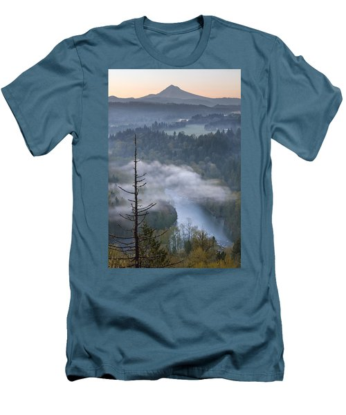 Men's T-Shirt (Slim Fit) featuring the photograph Mount Hood And Sandy River At Sunrise by JPLDesigns