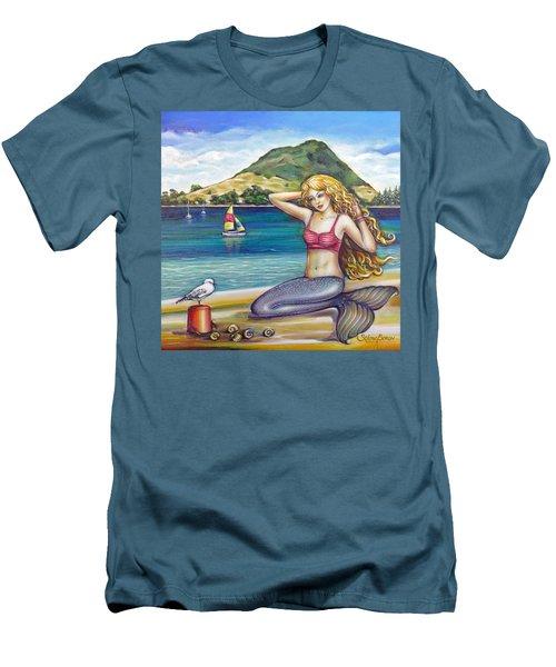 Mount Maunganui Beach Mermaid 160313 Men's T-Shirt (Slim Fit) by Selena Boron