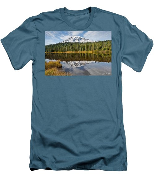Mount Rainier And Reflection Lakes In The Fall Men's T-Shirt (Slim Fit) by Jeff Goulden