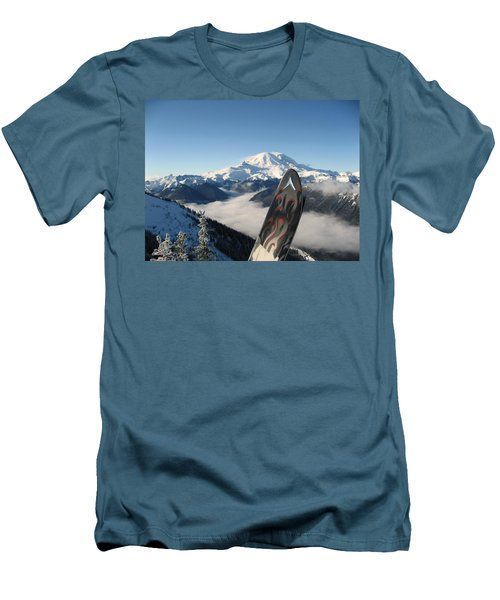 Mount Rainier Has Skis Men's T-Shirt (Slim Fit) by Kym Backland