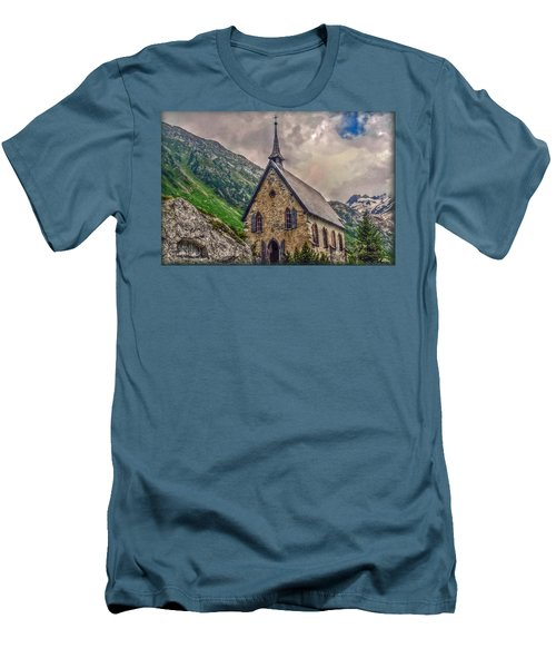 Men's T-Shirt (Slim Fit) featuring the photograph Mountain Chapel by Hanny Heim