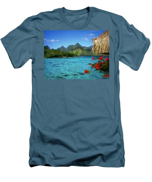 Men's T-Shirt (Slim Fit) featuring the painting Mountain Lake by Bruce Nutting
