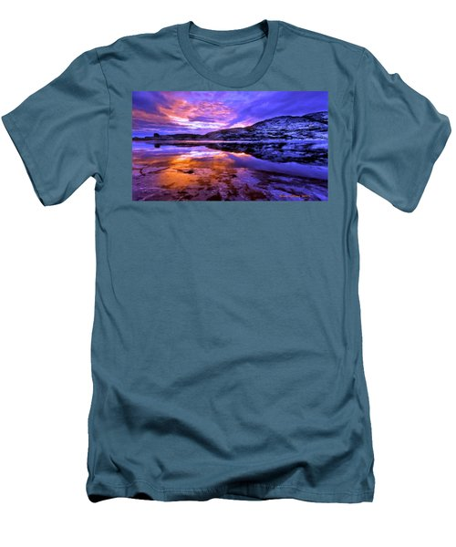 Men's T-Shirt (Slim Fit) featuring the painting Mountain Lake Sunset by Bruce Nutting
