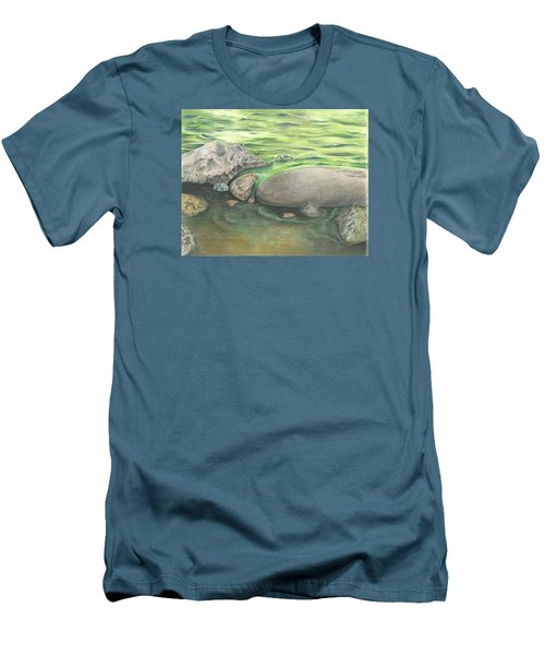 Men's T-Shirt (Slim Fit) featuring the drawing Mountain Stream by Troy Levesque