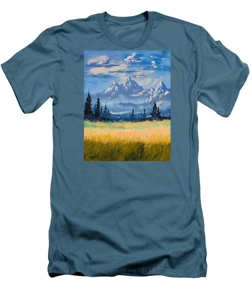 Men's T-Shirt (Slim Fit) featuring the painting Mountain Valley by Richard Faulkner