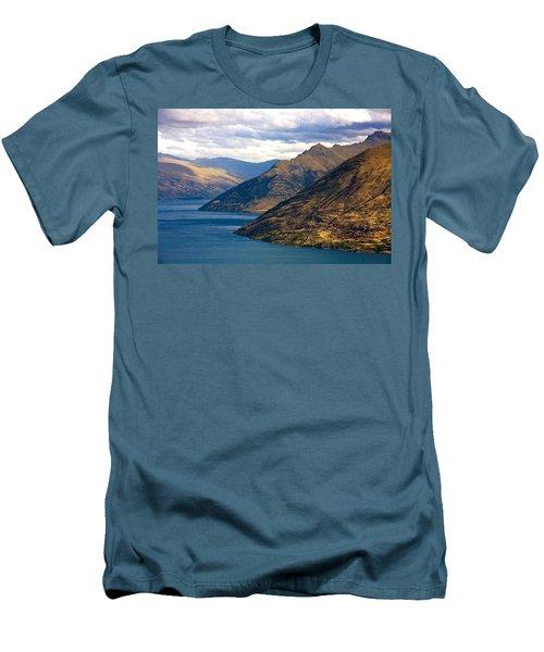 Mountains Meet Lake Men's T-Shirt (Slim Fit) by Stuart Litoff