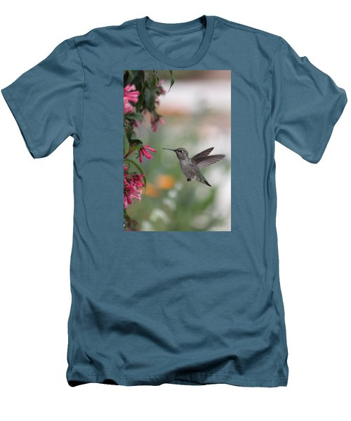 Men's T-Shirt (Slim Fit) featuring the photograph Mrs. Little Anna's Hummingbird by Amy Gallagher