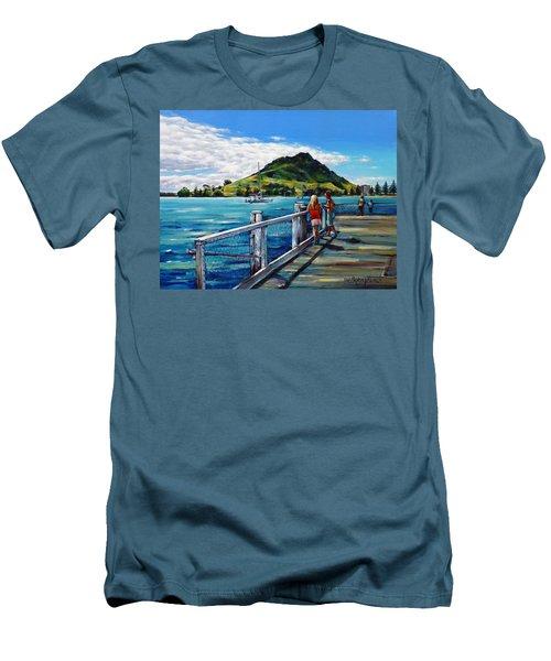 Mt Maunganui Pier 140114 Men's T-Shirt (Slim Fit) by Selena Boron