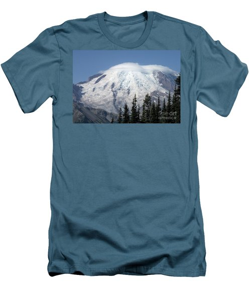 Men's T-Shirt (Slim Fit) featuring the photograph Mt. Rainier In August 2 by Chalet Roome-Rigdon