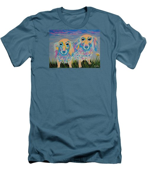 Men's T-Shirt (Slim Fit) featuring the painting Mugi And Tatami by Kathleen Sartoris