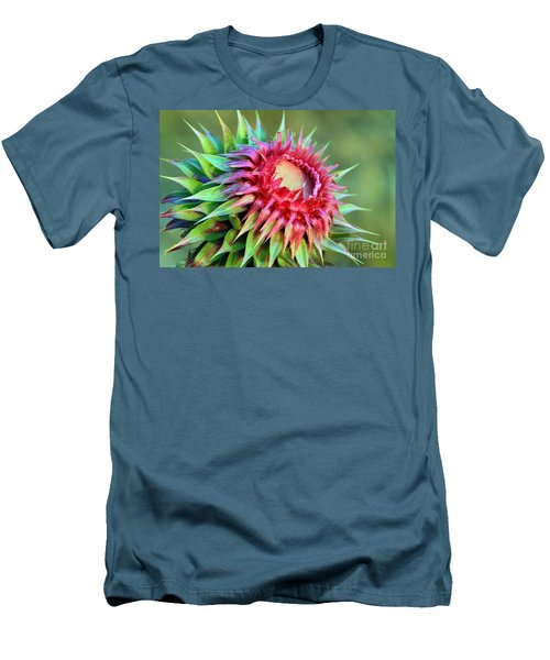 Men's T-Shirt (Slim Fit) featuring the photograph Musk Thistle by Teresa Zieba