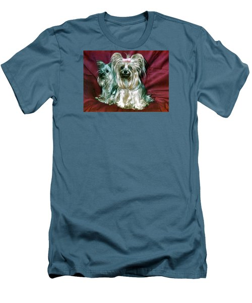 Men's T-Shirt (Slim Fit) featuring the photograph My Friends Yorkies by Phyllis Kaltenbach