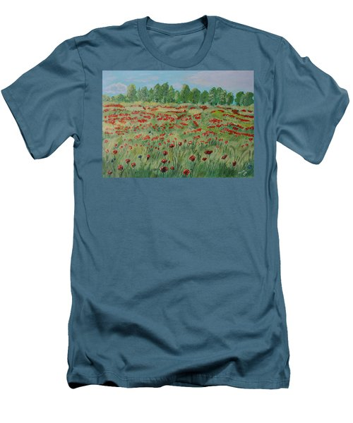 My Poppies Field Men's T-Shirt (Slim Fit) by Felicia Tica