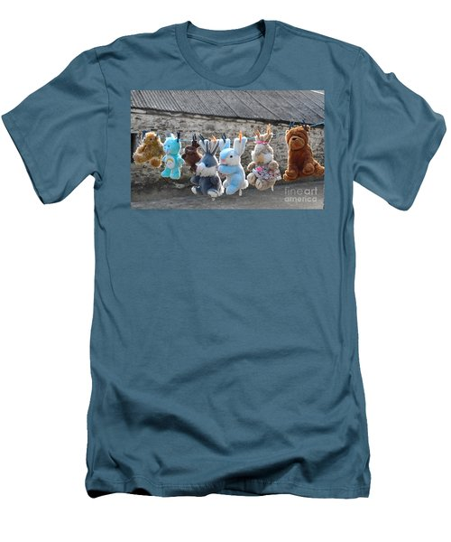 Men's T-Shirt (Slim Fit) featuring the photograph Toys On Washing Line by Nina Ficur Feenan