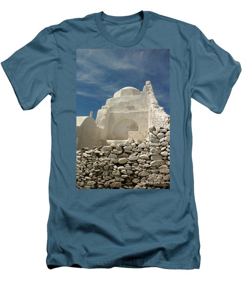 Mykonos Church Men's T-Shirt (Slim Fit) by Vivian Christopher