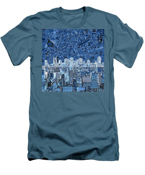 Nashville Skyline Abstract Men's T-Shirt (Slim Fit) by Bekim Art