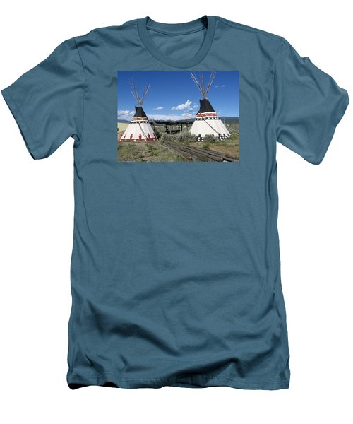 Men's T-Shirt (Slim Fit) featuring the photograph Native American Teepees by Dora Sofia Caputo Photographic Art and Design