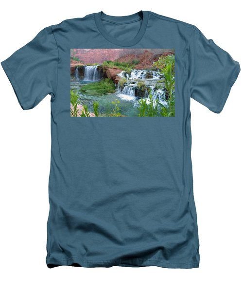 Men's T-Shirt (Slim Fit) featuring the photograph Navajo Falls by Alan Socolik