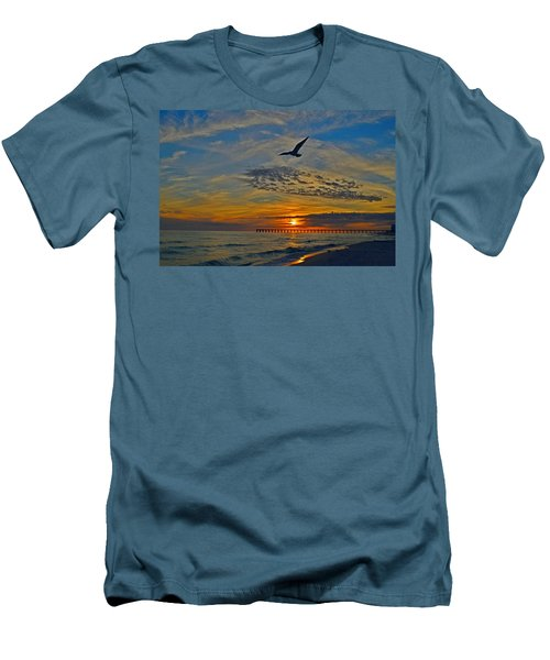 Navarre Beach And Pier Sunset Colors With Gulls And Waves Men's T-Shirt (Slim Fit) by Jeff at JSJ Photography