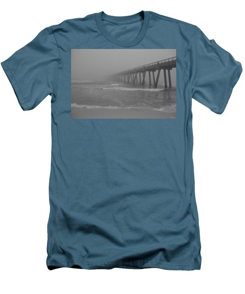 Navarre Pier Disappears In The Bw Fog Men's T-Shirt (Slim Fit) by Jeff at JSJ Photography