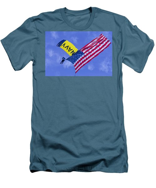 Men's T-Shirt (Athletic Fit) featuring the photograph Navy Seal Leap Frogs Us Flag by Donna Corless